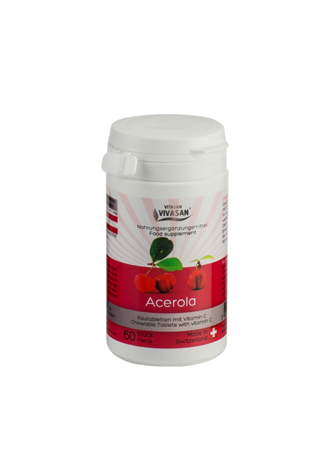 «Ацерола» (тропическая вишня в таблетках) очень высокое содержание витамина С